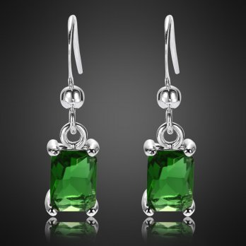 Anting Green Emerald Silver Lapis Emas Putih