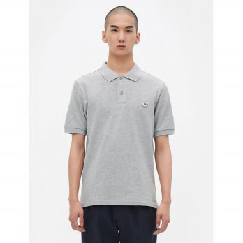 8SECONDS [Point-Ee] Embroidered Pique T-Shirt - Grey