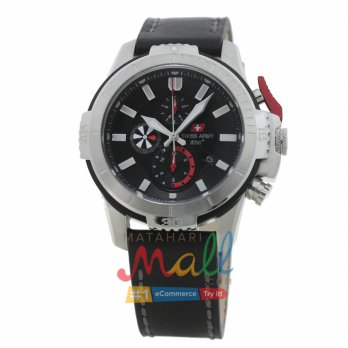 Swiss Army SA 2187 M Stainless Tali Kulit Stopwatch Chronograph Dial Hitam/Merah - Si