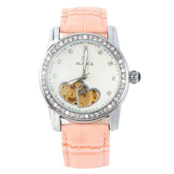 Monica Round Mechanical Analog Watch Love Hearts Groove Hollow Design PU Band - Pink
