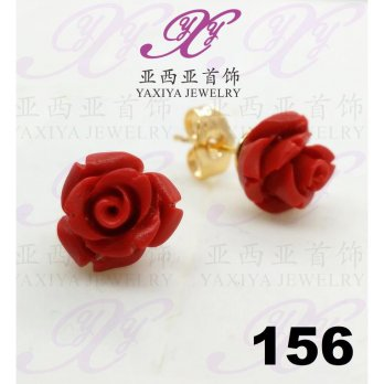 Anting emas Red roses (Big) Perhiasan imitasi Gold 18k Yaxiya 156