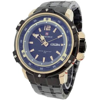 Naviforce Day Date N9849 Jam Tangan Pria Stainless Steel - Hitam/Gold