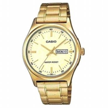 Casio Mtp-V003G-9a jam tangan pria stainles 42mm-kuning emas