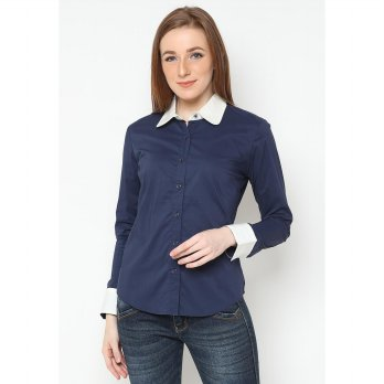 Mobile Power Ladies Basic Shirt Combination Color - Navy & White L8306H