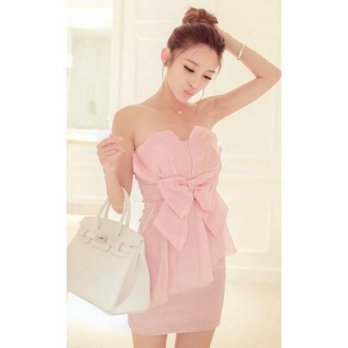 Luxury Ladies Fashion Sexy Bow Dress Pink
