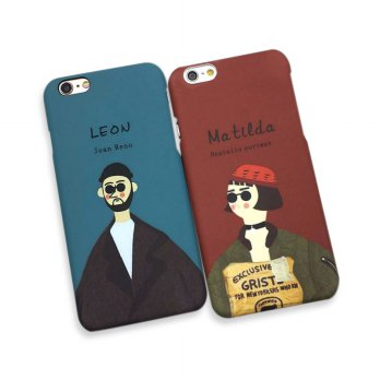 Casing HP iPhone 5 5s SE 6 6s 7 8 plus Couple Red Blue Vintage Couple Movie Man Hard Case Casing HP