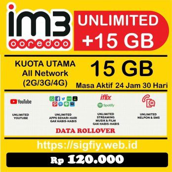 Promo Paket Data Indosat 15GB 24Jam 30Hari Internet Plus