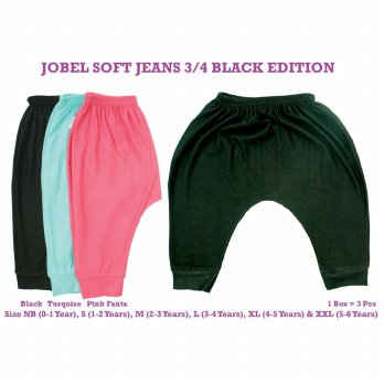 Paket 3 pcs | 0-6Y - KAZEL JOBEL 3/4 PANTS BLACK EDITION CELANA BABY GIRL