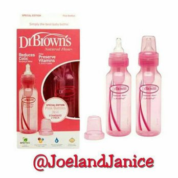 Dr Brown 250ml Standard Twin bottle - Pink
