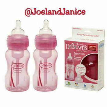 Dr Brown 240ml Wide Neck Twin bottle - Pink
