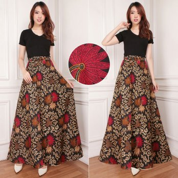 Cj collection Rok lilit batik maxi payung panjang wanita jumbo long skirt Melina