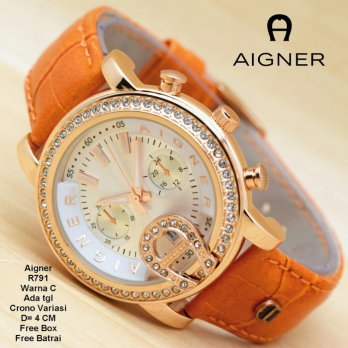 Jam Tangan wanita / jam Tangan Murah Aigner Cesty Orange Color + Box YRA-2244