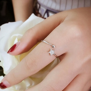 Cincin Open Star Silver Ring European Elegant Women Ring