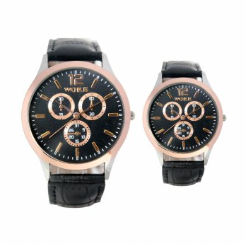 [1+1]  Jam Tangan Couple Analog Water resistant Strap Leather Chrono display FIN - 335 ACP