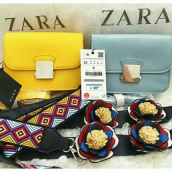 Termurah! TAS ZARA CROSSBODY FLOWERS STRAP UK.13X16X8