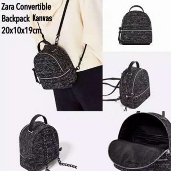 Termurah! ZARA CONVERTIBLE BACKPACK KANVAS ORI