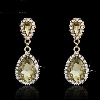 Anting gantung Yellowish Green Quartz