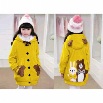Jaket Hoodie Funny Rabbit & Bear Kid Yellow Jaket Anak Perempuan Cute