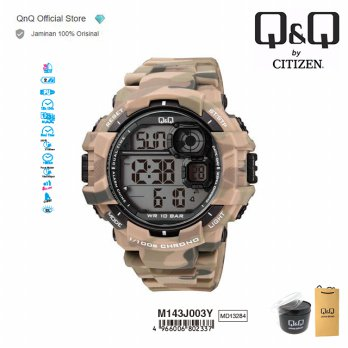 Q&Q QnQ QQ Original Jam Tangan Pria Digital Military Sport Watch - M143 M143J Water Resist
