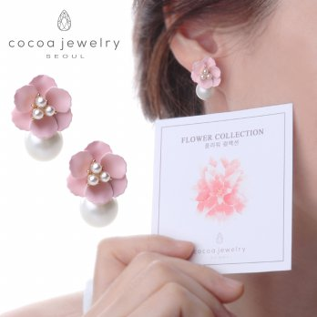 Korea Cocoa Jewelry Wind Flower - Anting Pink Color