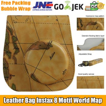 Terpopuler  Leather Fit Bag Tas Case Polaroid Instax Mini 8 / 8s / 9 World Map