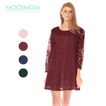 MOOIMOM Full Lace Long Sleeves Nursing Dress Baju Hamil Menyusui