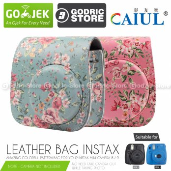 Fujifilm Leather Bag Kamera Instax Mini 8 & 9 Tas Polaroid Floral Clover Case