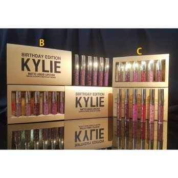 KYLIE BIRTHDAY GOLD BOX isi 6 / Matte Liquid Lipgloss Set / Lip Kit