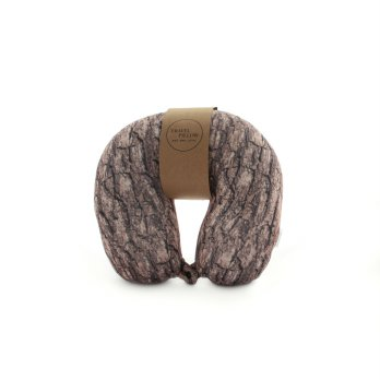 Travel Pillow Bantal Leher Combined Brown Wood UCHII