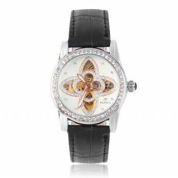 Monica Fashion Round Watch Round Mechanical Watch Leather Watchband for Monica - Blac