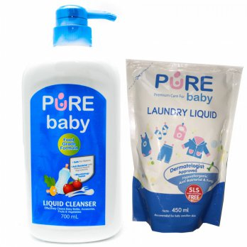Pure Baby Liquid Cleanser 700ml Pump Free Laundry Liquid 450ml