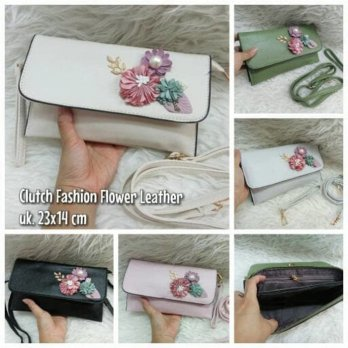 CLUTCH FASHION FLOWER LEATHER