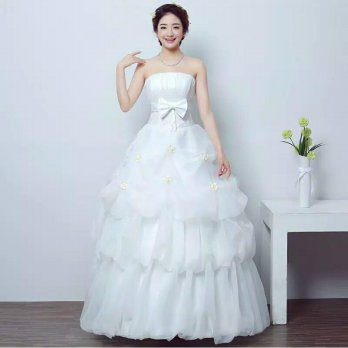 Wedding dress gaun pengantin model kemben pita depan rok ombak
