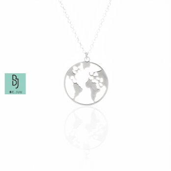 BE.JUU Kalung We Are The World Korean Jewelry Silver Color