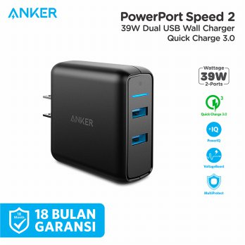 Wall Charger Anker PowerPort Speed 2 QC 3.0 Black - A2025