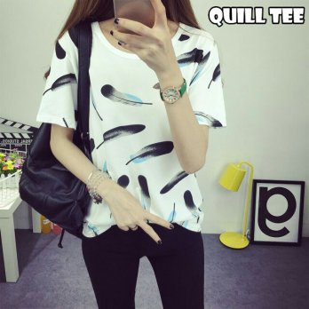 PAKET 6 PCS – BLOUSE/BLUS BC- Quill Tee Bahan Cotton Spandek fit to L BLC00042G