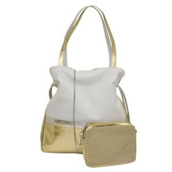 [macyskorea] ILI Leather Drawstring Handbag (White/ Gold/ Silver)/19175122