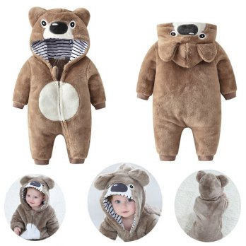 Winter Jacket Bayi Brown Bear Fleece Romper - KA0108W