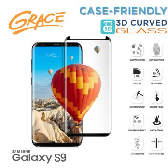 Grace Samsung Galaxy S9 - 5.8 inch Tempered Glass - 3D Curved Full Cover Case Friendly