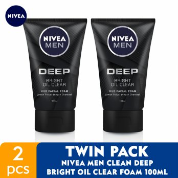 NIVEA MEN Clean Deep Bright Oil Clear Foam 100ml - Twin Pack