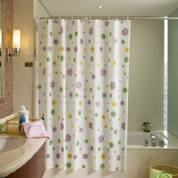 Shower Curtain Purple Flower Tirai Kamar Mandi Anti Air Waterproof