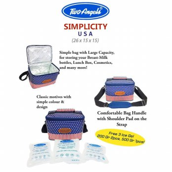 Two Angels USA Cooler Bag BPA free - Bonus 3 Ice Gel