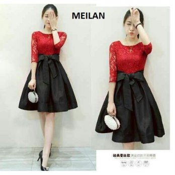 Dress (M - Fit L) MEILAN - Brokat Furing Kombinasi Spandek