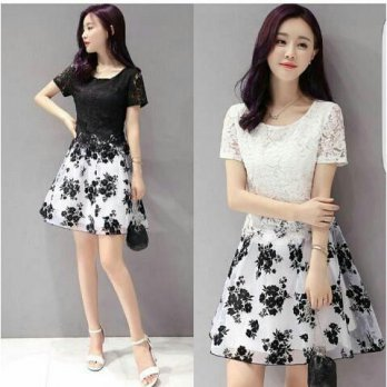 dress flower brukat bhn spandek+brukat fit to L.ro