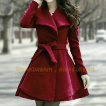 Coat Jaket Mantel winter Wanita Red Velvet hangat