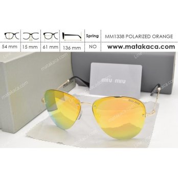 Kacamata Sunglass Miu Miu 1338 Polarized Orange