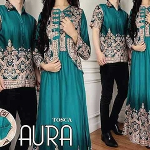 Baju Couple Katun Rayon Aura / Set Gamis Dress Kemeja Batik Couple Murah