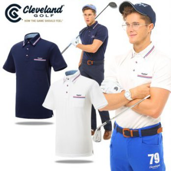 [Cleveland Golf] Men's Short Sleeve Polo Shirt (CGK5MTS077B) / golf pakaian / barang asli