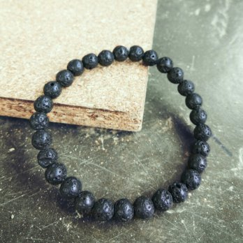 Gelang Batu Lava / Lahar 6mm Asli ( Natural Lava's Rock Bracelet 6mm )