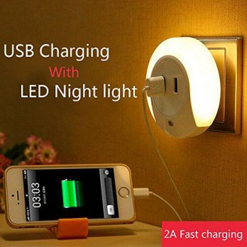 Dual Usb Charging With Led Night Light / Lampu Tidur